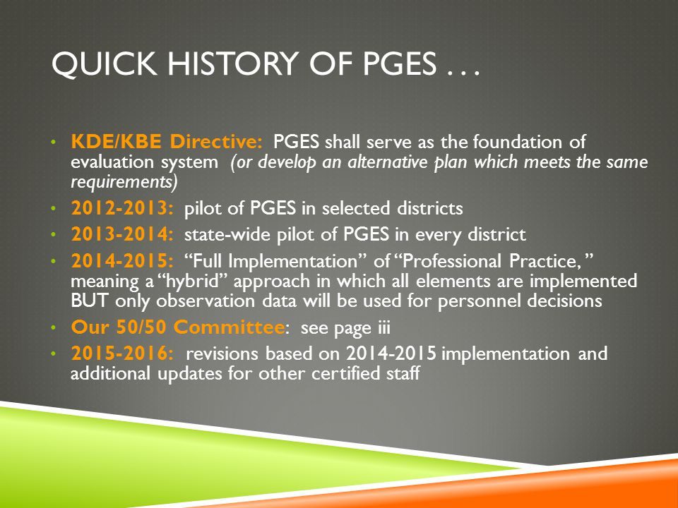 QUICK HISTORY OF PGES...