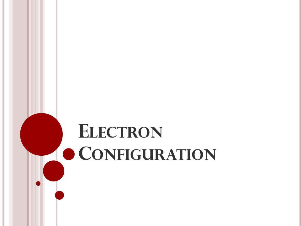 E LECTRON C ONFIGURATION