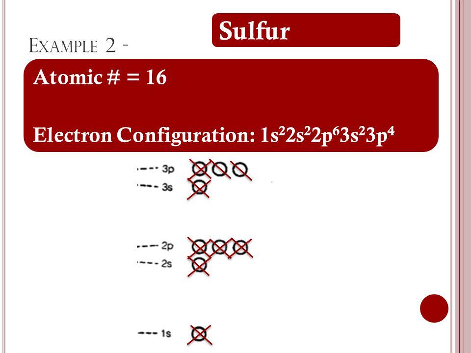 E XAMPLE 2 - Sulfur Atomic # = 16 Electron Configuration: 1s 2 2s 2 2p 6 3s 2 3p 4