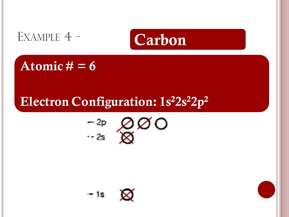 E XAMPLE 4 - Carbon Atomic # = 6 Electron Configuration: 1s 2 2s 2 2p 2
