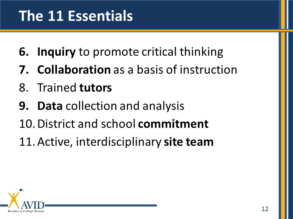 12 6.Inquiry to promote critical thinking 7.Collaboration as a basis of instruction 8.Trained tutors 9.Data collection and analysis 10.District and sc