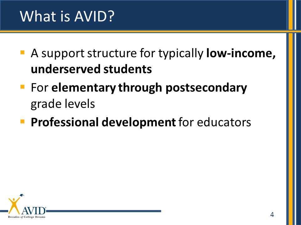 4  A support structure for typically low-income, underserved students  For elementary through postsecondary grade levels  Professional development