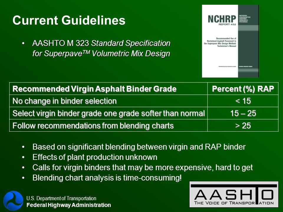 U.S. Department of Transportation Federal Highway Administration 10 Current Guidelines AASHTO M 323 Standard SpecificationAASHTO M 323 Standard Specif