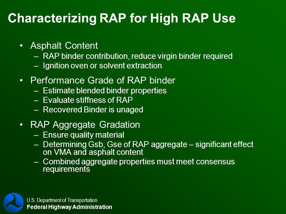 U.S. Department of Transportation Federal Highway Administration Characterizing RAP for High RAP Use Asphalt Content – –RAP binder contribution, reduc