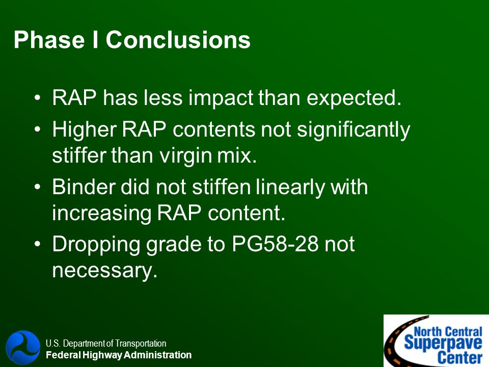 U.S. Department of Transportation Federal Highway Administration Phase I Conclusions RAP has less impact than expected. Higher RAP contents not signif