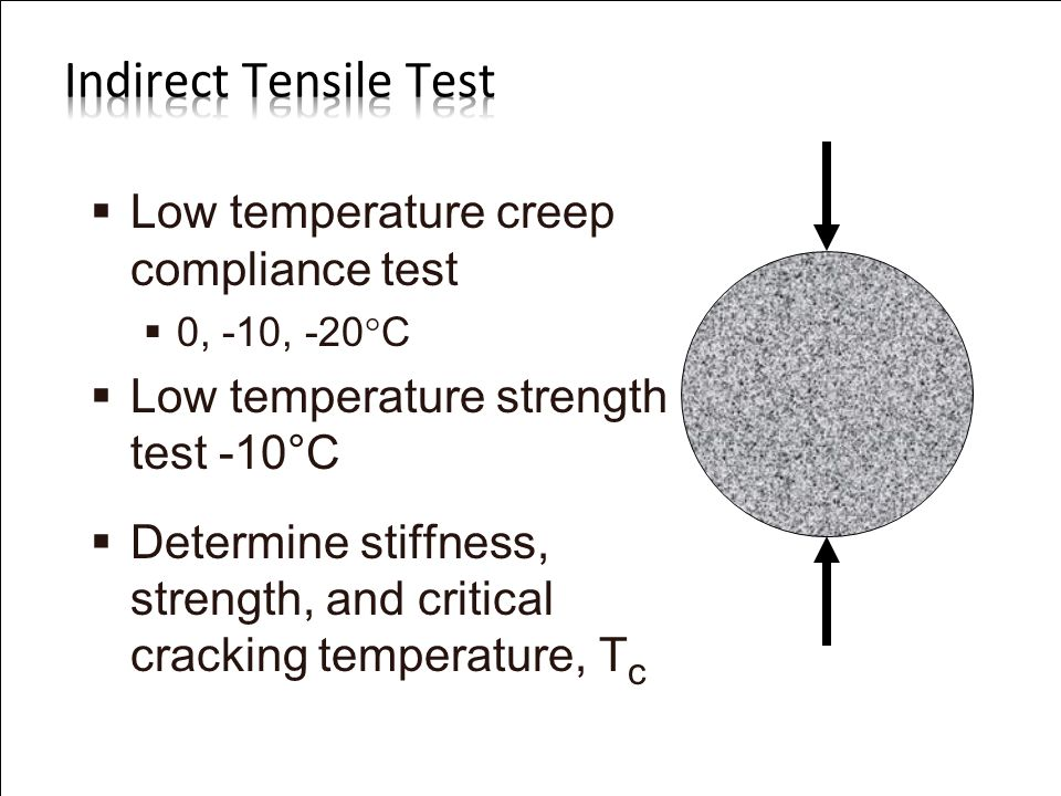 U.S. Department of Transportation Federal Highway Administration   Low temperature creep compliance test   0, -10, -20  C   Low temperature str