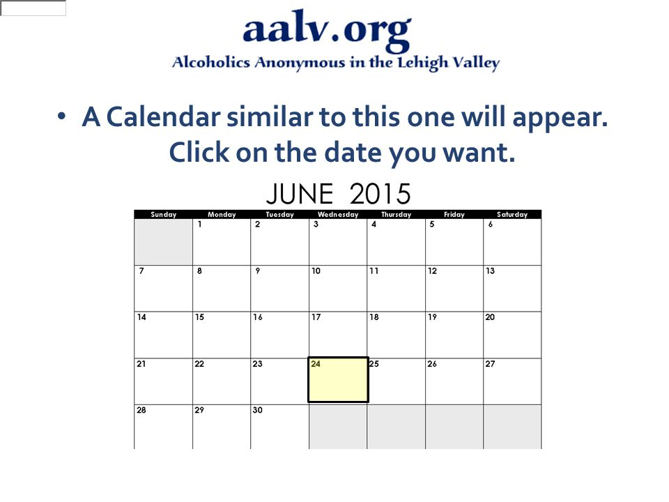 A Calendar similar to this one will appear. Click on the date you want.