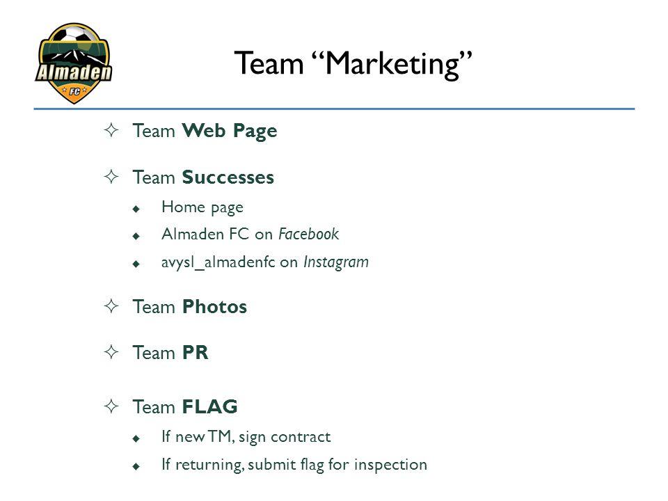  Team Web Page  Team Successes  Home page  Almaden FC on Facebook  avysl_almadenfc on Instagram  Team Photos  Team PR  Team FLAG  If new TM,