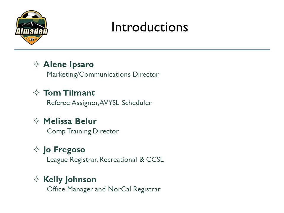 Introductions  Alene Ipsaro Marketing/Communications Director  Tom Tilmant Referee Assignor, AVYSL Scheduler  Melissa Belur Comp Training Director