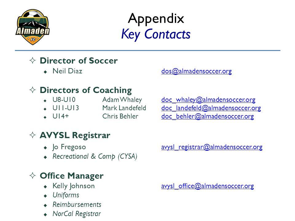 Appendix Key Contacts  Director of Soccer  Neil Diaz dos@almadensoccer.org dos@almadensoccer.org  Directors of Coaching  U8-U10Adam Whaleydoc_whal