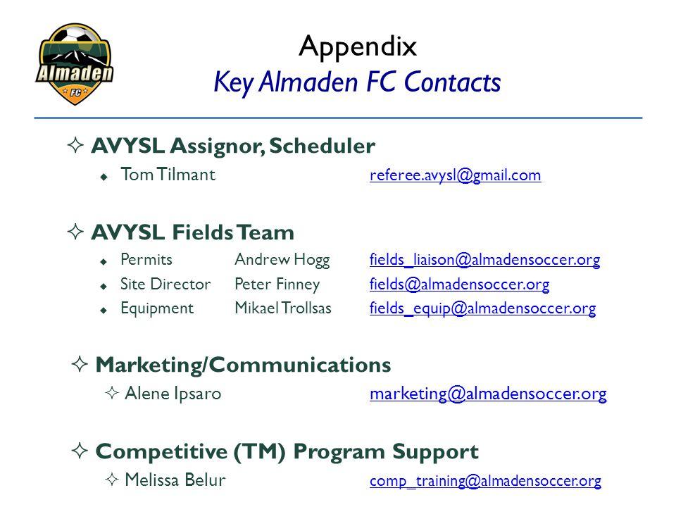  AVYSL Assignor, Scheduler  Tom Tilmant referee.avysl@gmail.com referee.avysl@gmail.com  AVYSL Fields Team  PermitsAndrew Hoggfields_liaison@almad