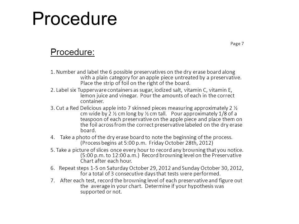 Procedure Page 7 Procedure: 1.
