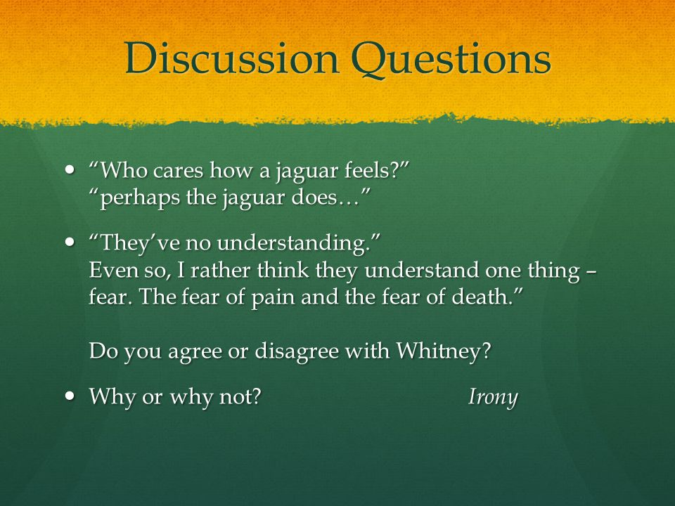 "Discussion Questions ""Who cares how a jaguar feels?"" ""perhaps the jaguar does…"" ""Who cares how a jaguar feels?"" ""perhaps the jaguar does…"" ""They've no"