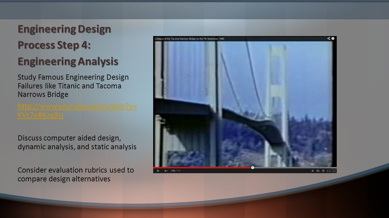 Engineering Design Process Step 4: Engineering Analysis Study Famous Engineering Design Failures like Titanic and Tacoma Narrows Bridge http://www.youtube.com/watch v= KVc7oBKzq9U Discuss computer aided design, dynamic analysis, and static analysis Consider evaluation rubrics used to compare design alternatives