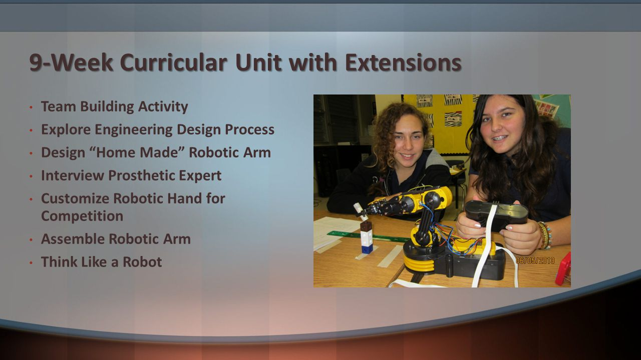 9-Week Curricular Unit with Extensions Team Building Activity Explore Engineering Design Process Design Home Made Robotic Arm Interview Prosthetic Expert Customize Robotic Hand for Competition Assemble Robotic Arm Think Like a Robot