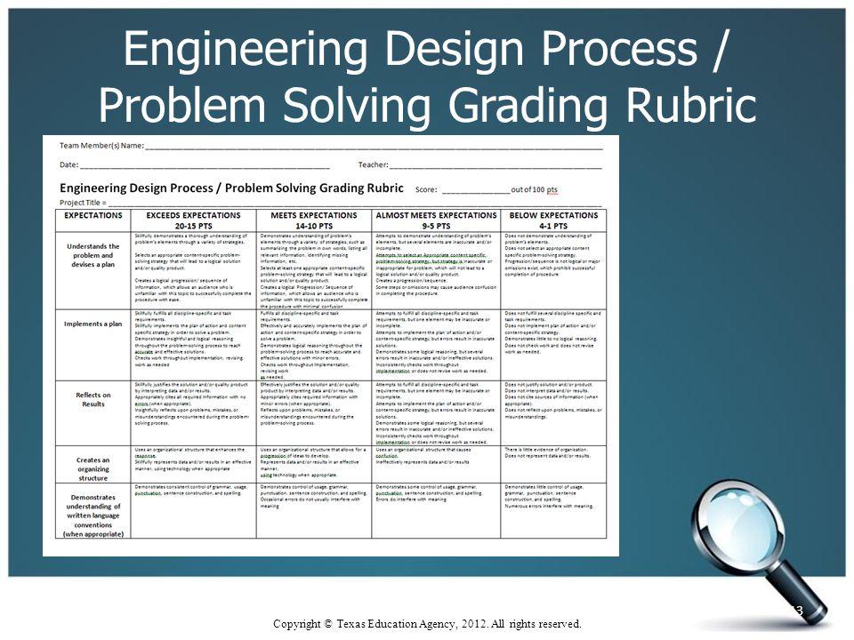 Engineering Design Process / Problem Solving Grading Rubric 13 Copyright © Texas Education Agency, 2012.