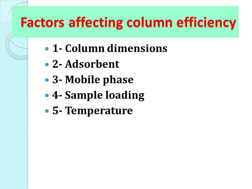 Factors affecting column efficiency 1- Column dimensions 2- Adsorbent 3- Mobile phase 4- Sample loading 5- Temperature