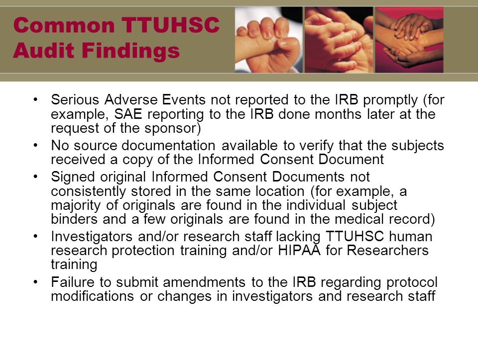 Points to Remember Audit Findings/Common Mistakes – The Informed Consent is most commonly cited in research litigation The PI is always responsible for all study activity and for all personnel performance Keep the IRB informed of all study changes and updates