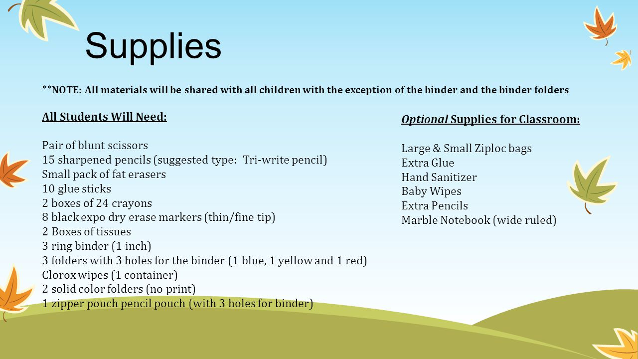 Supplies ** NOTE: All materials will be shared with all children with the exception of the binder and the binder folders All Students Will Need: Pair of blunt scissors 15 sharpened pencils (suggested type: Tri-write pencil) Small pack of fat erasers 10 glue sticks 2 boxes of 24 crayons 8 black expo dry erase markers (thin/fine tip) 2 Boxes of tissues 3 ring binder (1 inch) 3 folders with 3 holes for the binder (1 blue, 1 yellow and 1 red) Clorox wipes (1 container) 2 solid color folders (no print) 1 zipper pouch pencil pouch (with 3 holes for binder) Optional Supplies for Classroom: Large & Small Ziploc bags Extra Glue Hand Sanitizer Baby Wipes Extra Pencils Marble Notebook (wide ruled)
