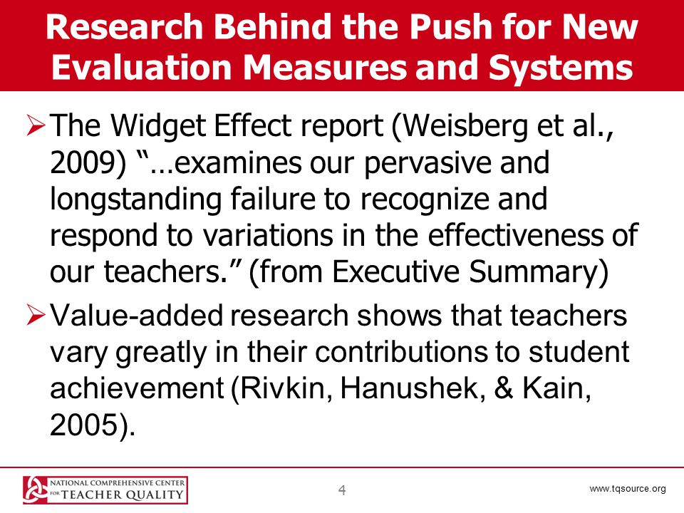 www.tqsource.org Evidence-based improvement  Create a culture of using evidence to drive improvements in teaching and learning  Content is necessary but not sufficient—it's no substitute for improved teaching practices  Good teacher evaluation should provide evidence about teachers' practice that can be used to help teachers improve their instruction  In the CTES, keep the focus on improving instructional quality, not raising test scores 25