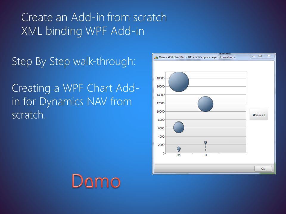 Latest version at http://toolbox/Win8ppt Create an Add-in from scratch XML binding WPF Add-in Step By Step walk-through: Creating a WPF Chart Add- in