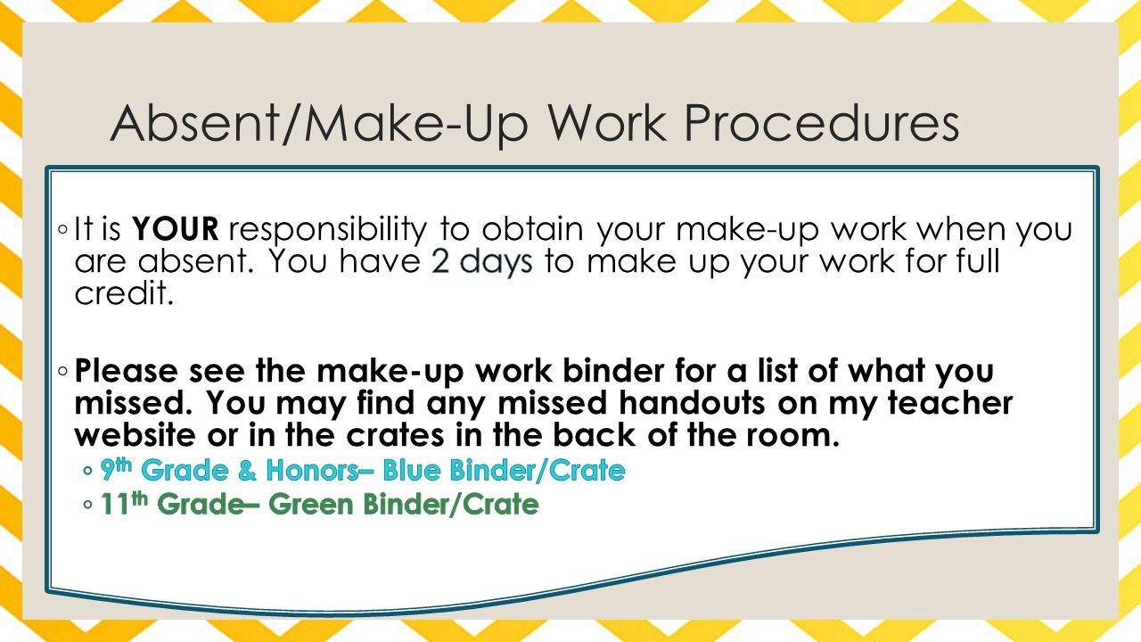Absent/Make-Up Work Procedures