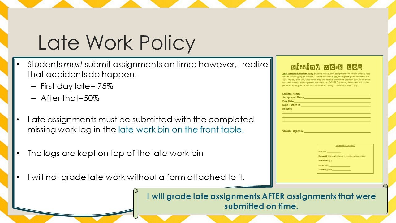 I will grade late assignments AFTER assignments that were submitted on time. Late Work Policy