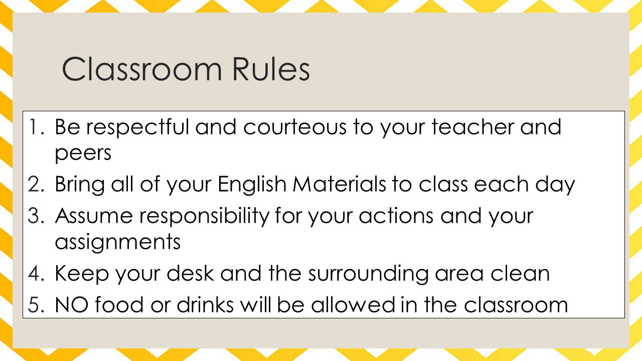 Classroom Rules 1.Be respectful and courteous to your teacher and peers 2.Bring all of your English Materials to class each day 3.Assume responsibilit