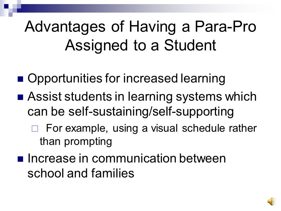Goals for students with ASD: Socialization skill development Independent functioning Paraprofessionals are only assigned when the student needs direct support for: Academics Behavior Social Interaction