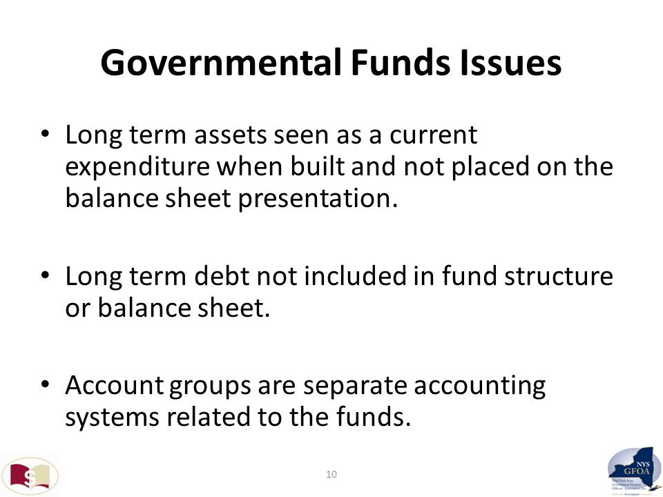 Governmental Funds Issues Long term assets seen as a current expenditure when built and not placed on the balance sheet presentation.