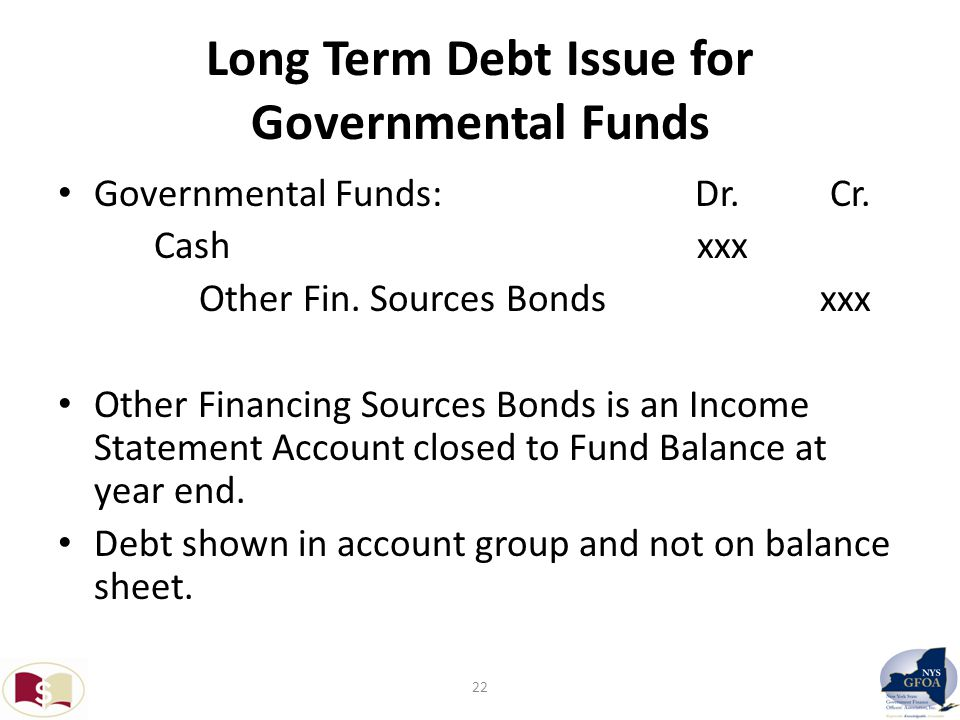 Long Term Debt Issue for Governmental Funds Governmental Funds: Dr.