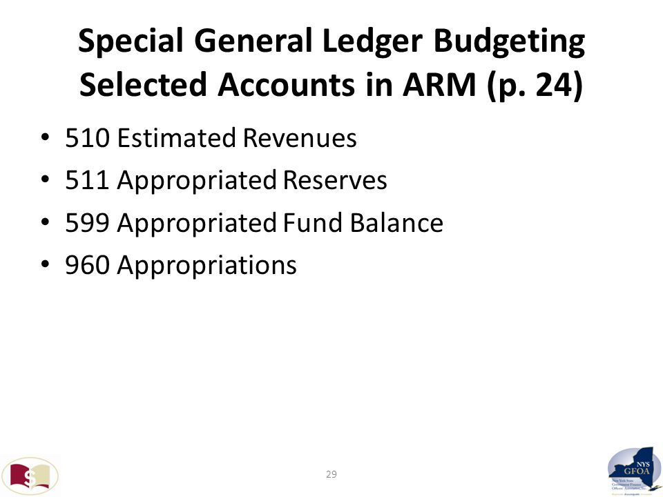 Special General Ledger Budgeting Selected Accounts in ARM (p.