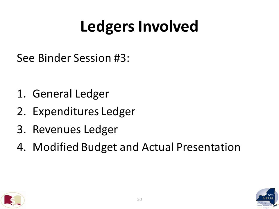 Ledgers Involved See Binder Session #3: 1.General Ledger 2.Expenditures Ledger 3.Revenues Ledger 4.Modified Budget and Actual Presentation 30