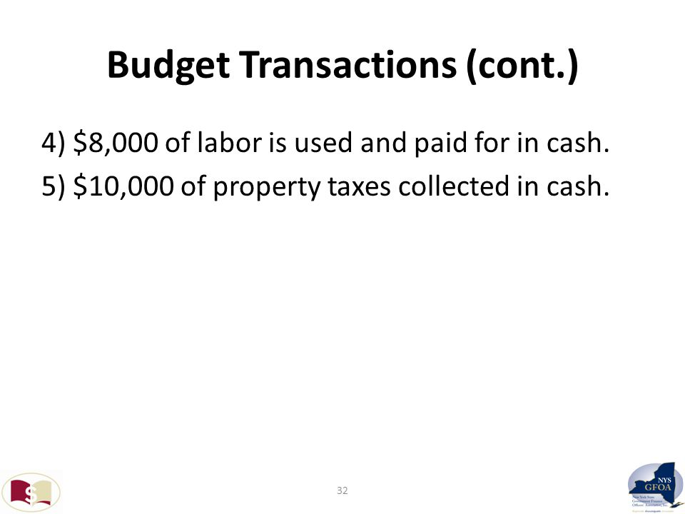Budget Transactions (cont.) 4) $8,000 of labor is used and paid for in cash.