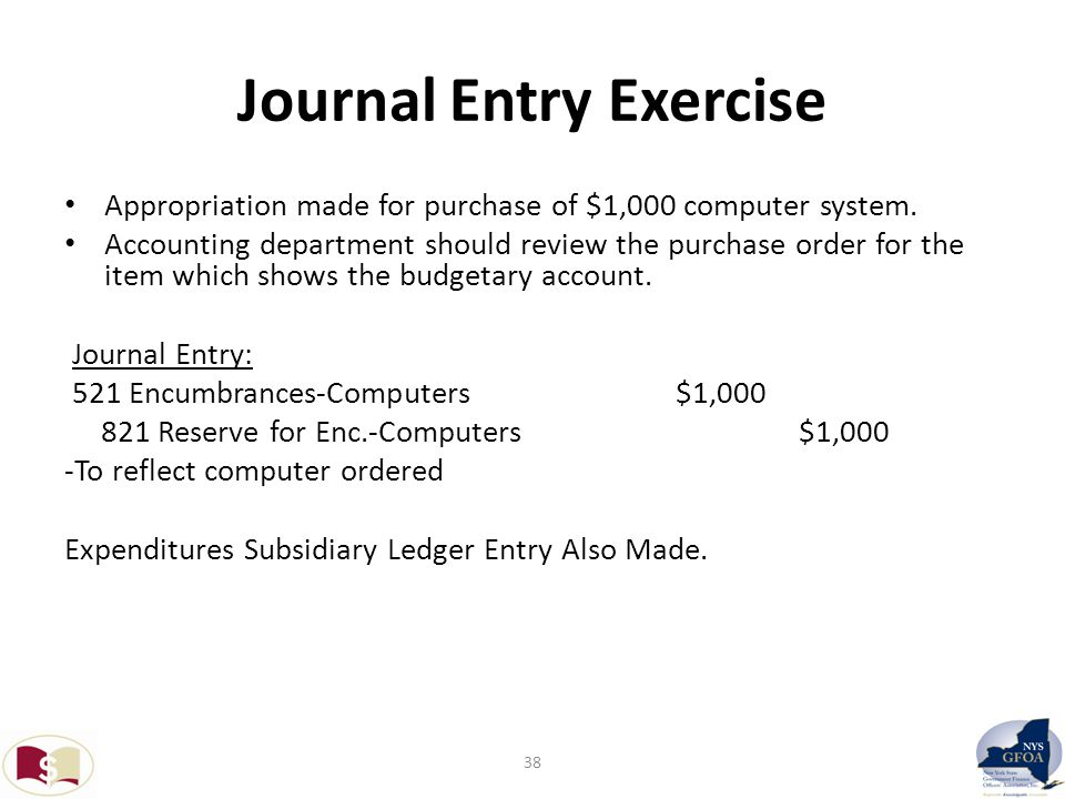 Journal Entry Exercise Appropriation made for purchase of $1,000 computer system.