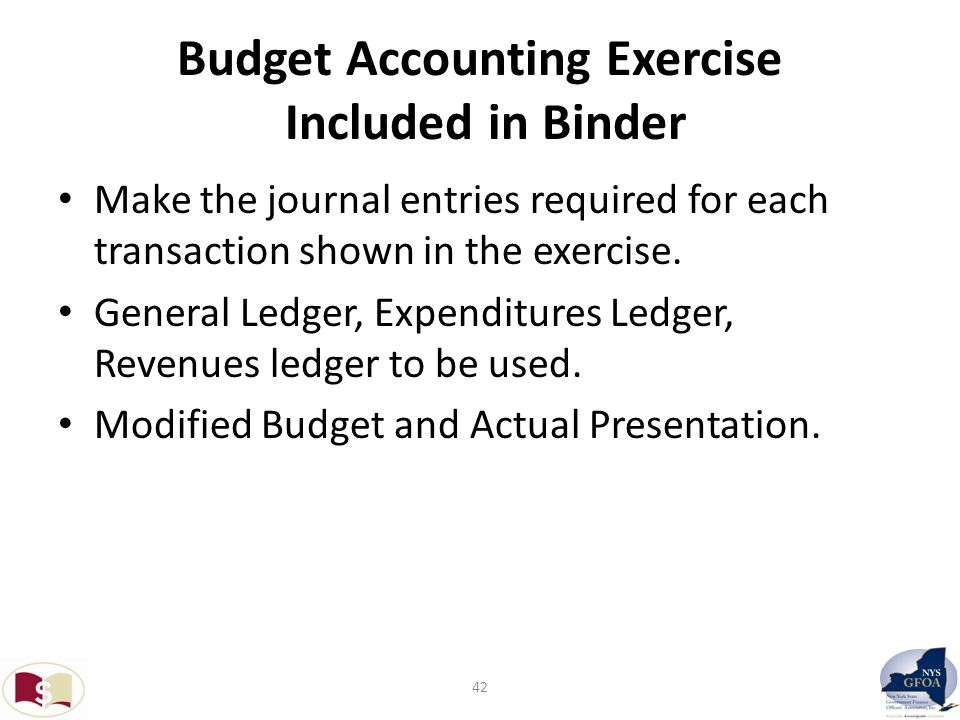 Budget Accounting Exercise Included in Binder Make the journal entries required for each transaction shown in the exercise.