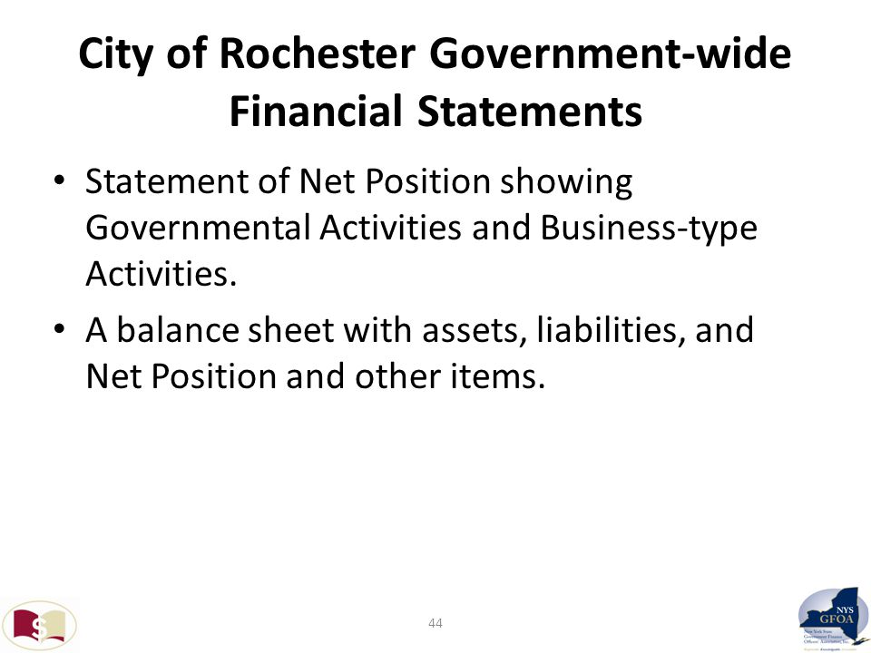 City of Rochester Government-wide Financial Statements Statement of Net Position showing Governmental Activities and Business-type Activities.