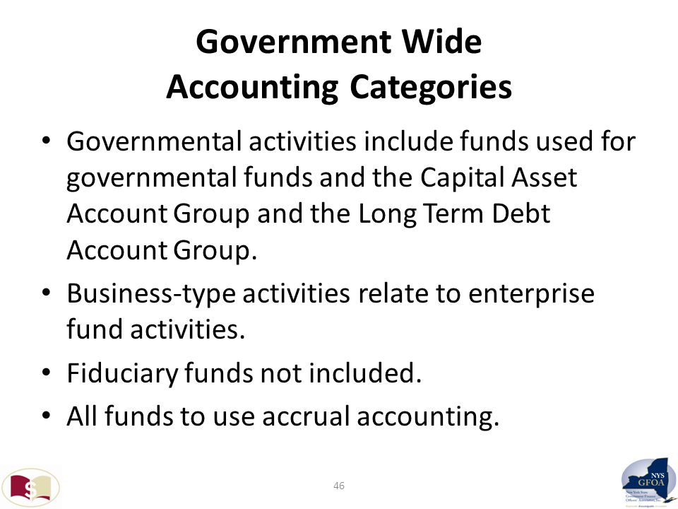 Government Wide Accounting Categories Governmental activities include funds used for governmental funds and the Capital Asset Account Group and the Long Term Debt Account Group.