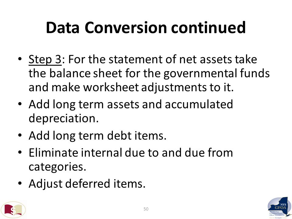 Data Conversion continued Step 3: For the statement of net assets take the balance sheet for the governmental funds and make worksheet adjustments to it.