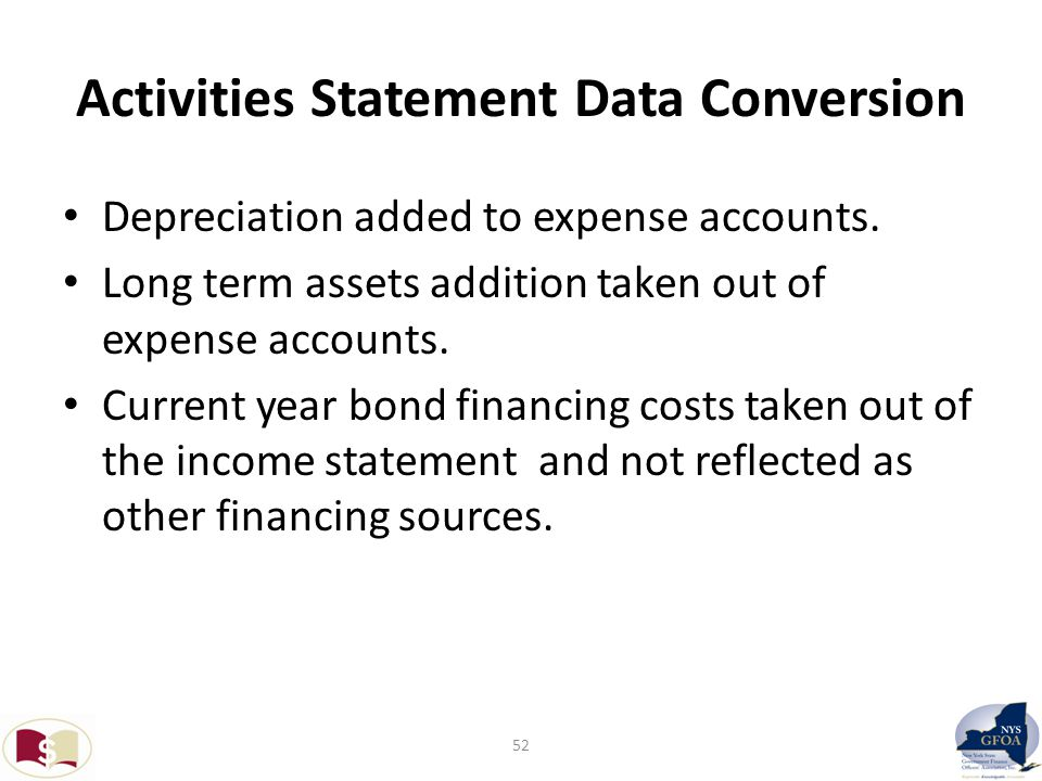 Activities Statement Data Conversion Depreciation added to expense accounts.