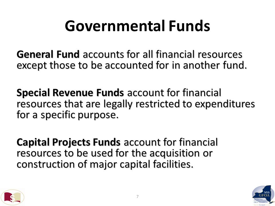 More Governmental Funds Debt Service Funds account for the accumulation of resources for, and the payment of, general long term debt and principal and interest.