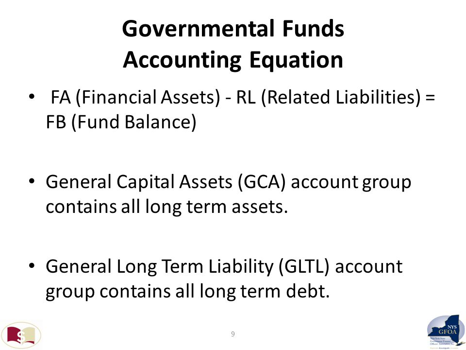 Governmental Funds Accounting Equation FA (Financial Assets) - RL (Related Liabilities) = FB (Fund Balance) General Capital Assets (GCA) account group contains all long term assets.