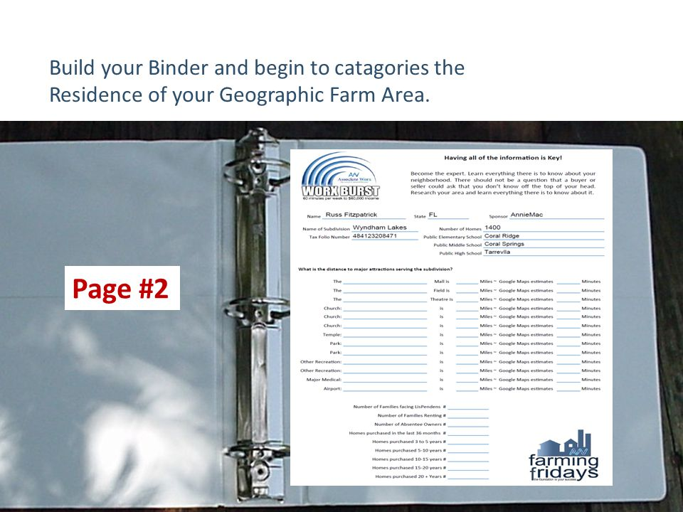 Build your Binder and begin to catagories the Residence of your Geographic Farm Area. Page #2