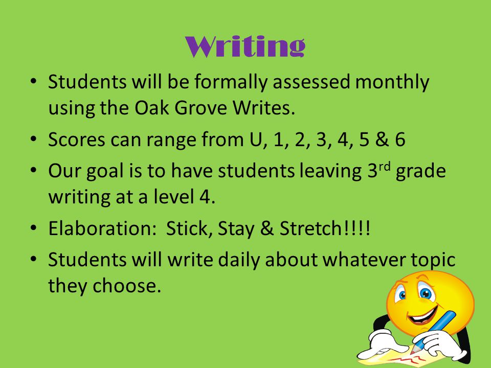 Writing Students will be formally assessed monthly using the Oak Grove Writes.