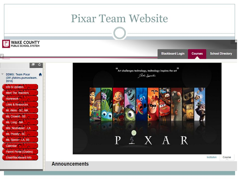 Pixar Team Website