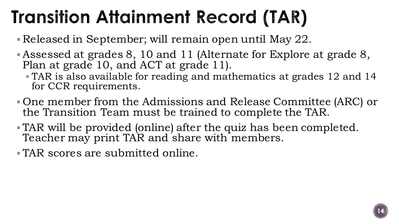  Released in September; will remain open until May 22.  Assessed at grades 8, 10 and 11 (Alternate for Explore at grade 8, Plan at grade 10, and ACT