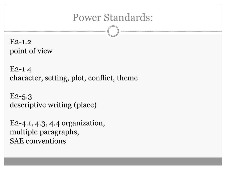 Power Standards: E2-1.2 point of view E2-1.4 character, setting, plot, conflict, theme E2-5.3 descriptive writing (place) E2-4.1, 4.3, 4.4 organization, multiple paragraphs, SAE conventions