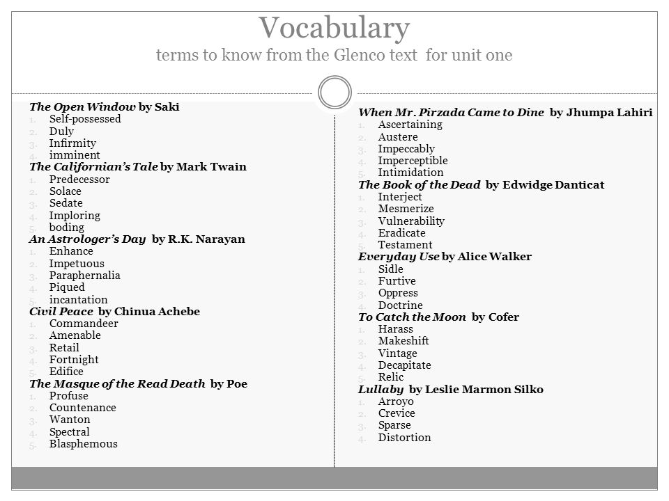 Vocabulary terms to know from the Glenco text for unit one The Open Window by Saki 1.