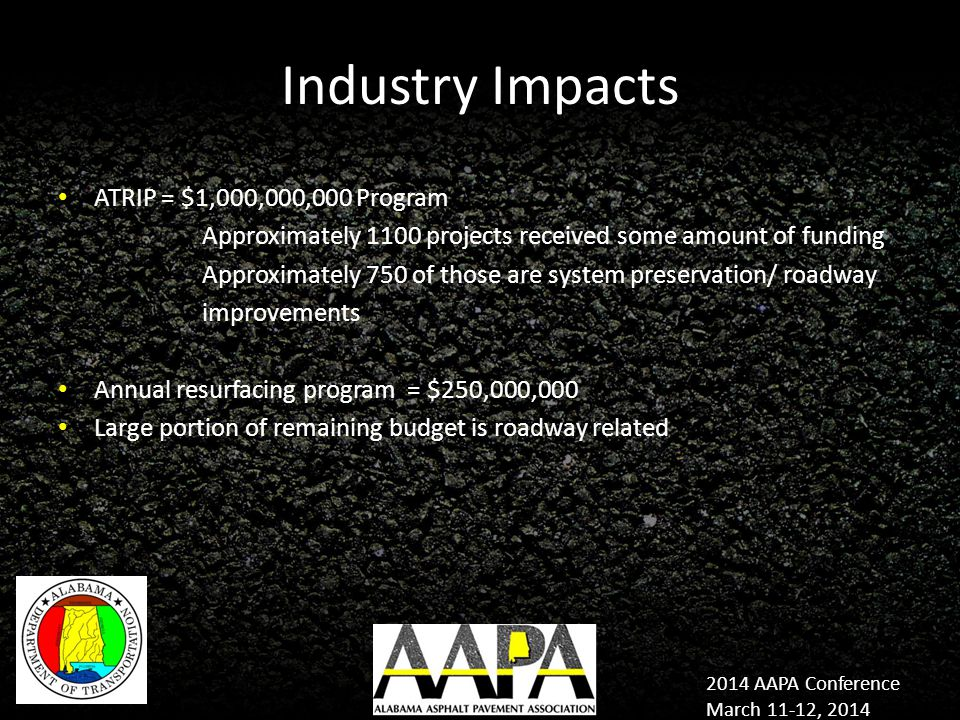 2014 AAPA Conference March 11-12, 2014 Industry Impacts ATRIP = $1,000,000,000 Program Approximately 1100 projects received some amount of funding Approximately 750 of those are system preservation/ roadway improvements Annual resurfacing program = $250,000,000 Large portion of remaining budget is roadway related