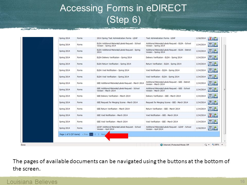 Accessing Forms in eDIRECT (Step 6) The pages of available documents can be navigated using the buttons at the bottom of the screen.